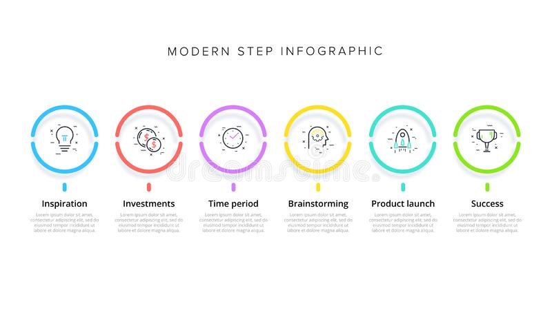 Business process chart infographics with 6 step circles. Circular corporate workflow graphic elements. Company flowchart. Presentation slide template. Vector royalty free illustration