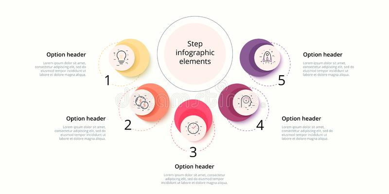 Business process chart infographics with 5 step circles. Circular corporate workflow graphic elements. Company flowchart. Presentation slide template. Vector stock illustration