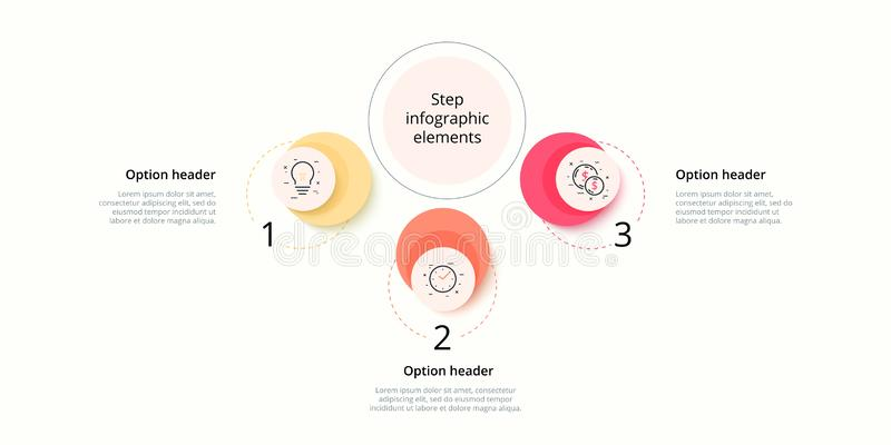 Business process chart infographics with 3 step circles. Circular corporate workflow graphic elements. Company flowchart. Presentation slide template. Vector stock illustration