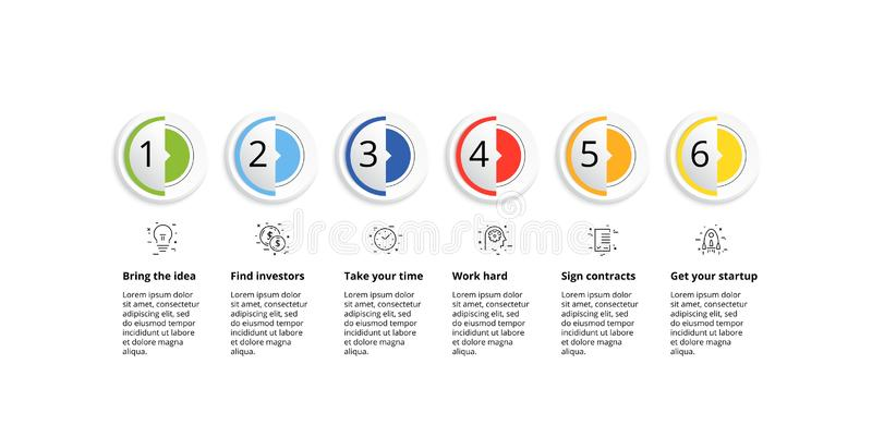 Business process chart infographics with 6 step circles. Circular corporate workflow graphic elements. Company flowchart royalty free illustration
