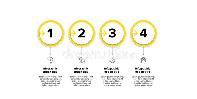 Business process chart infographics with 4 step circles. Circular corporate workflow graphic elements. Company flowchart. Presentation slide template. Vector stock illustration