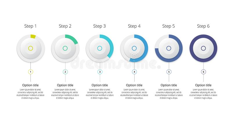 Business process chart infographics with 6 step circles. Circular corporate workflow graphic elements. Company flowchart. Presentation slide template. Vector vector illustration