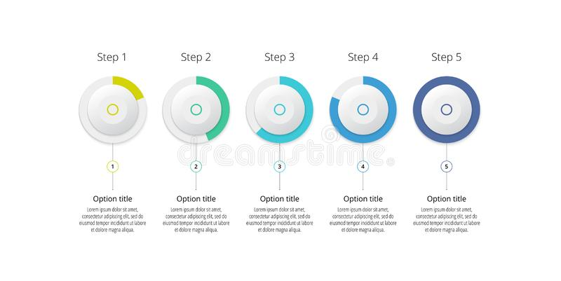 Business process chart infographics with 5 step circles. Circular corporate workflow graphic elements. Company flowchart. Presentation slide template. Vector vector illustration