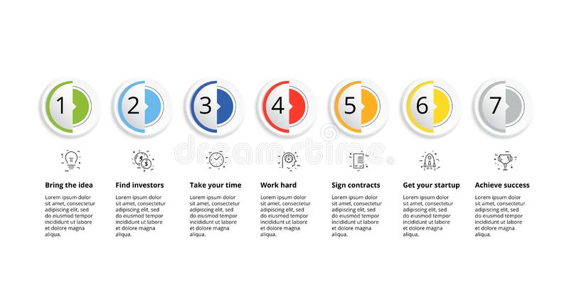 Business process chart infographics with 7 step circles. Circular corporate workflow graphic elements. Company flowchart. Presentation slide template. Vector vector illustration