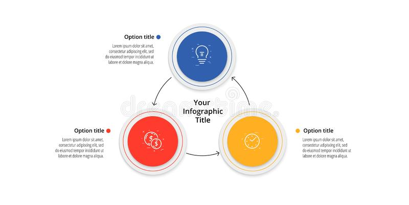 Business process chart infographics with 3 step circles. Circular corporate workflow graphic elements. Company flowchart. Presentation slide template. Vector royalty free illustration