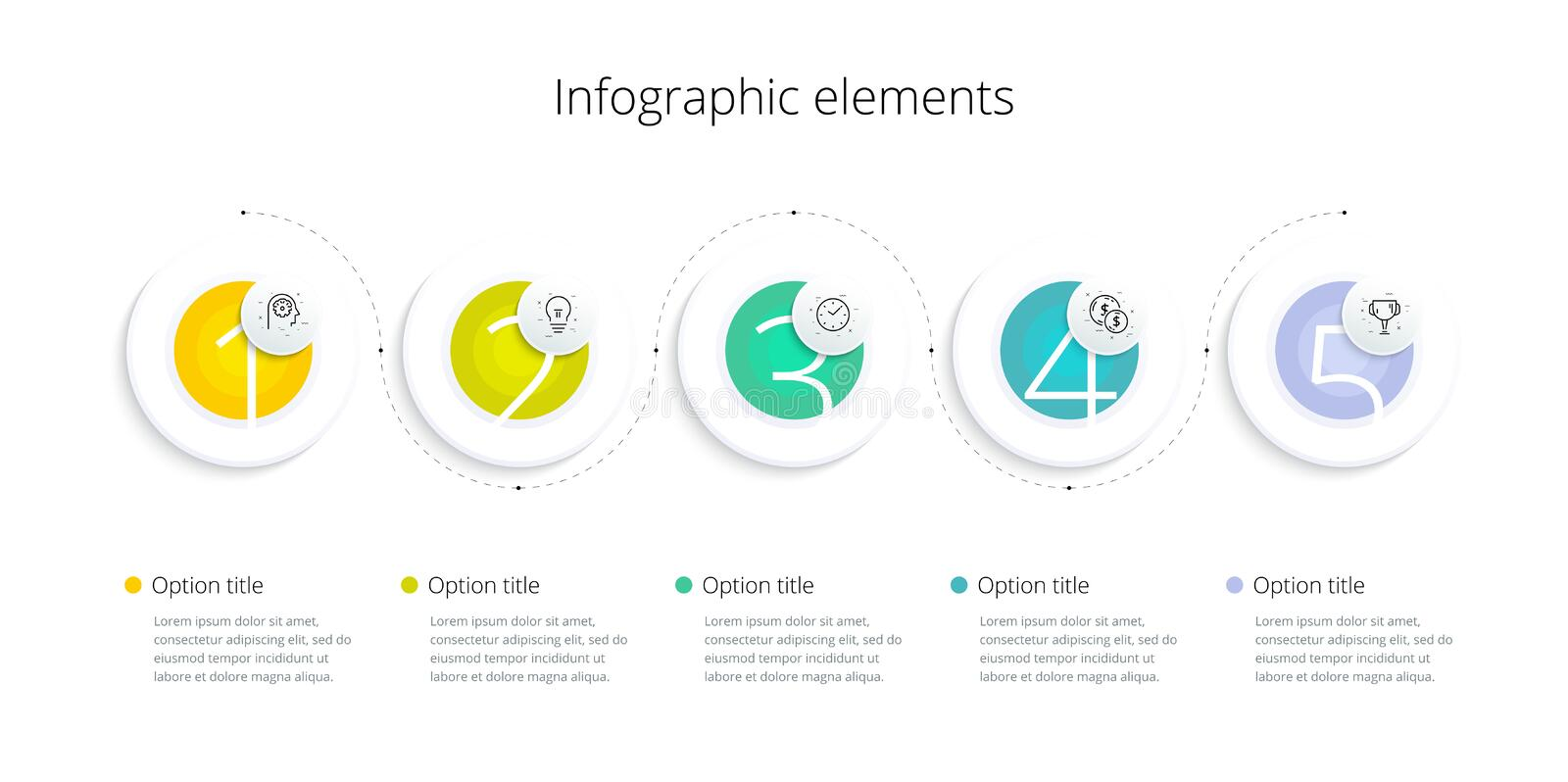 Business process chart infographics with 5 step options. Square corporate workflow graphic elements. Company flowchart. Presentation slide template. Vector info vector illustration