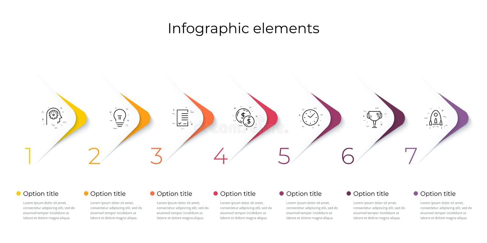 Business process chart infographics with 7 step options. Square corporate workflow graphic elements. Company flowchart. Presentation slide template. Vector info stock illustration