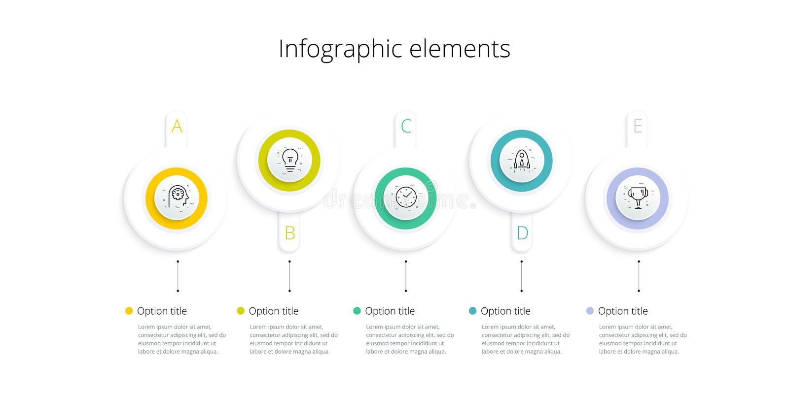Business process chart infographics with 5 step options. Square corporate workflow graphic elements. Company flowchart. Presentation slide template. Vector info stock illustration