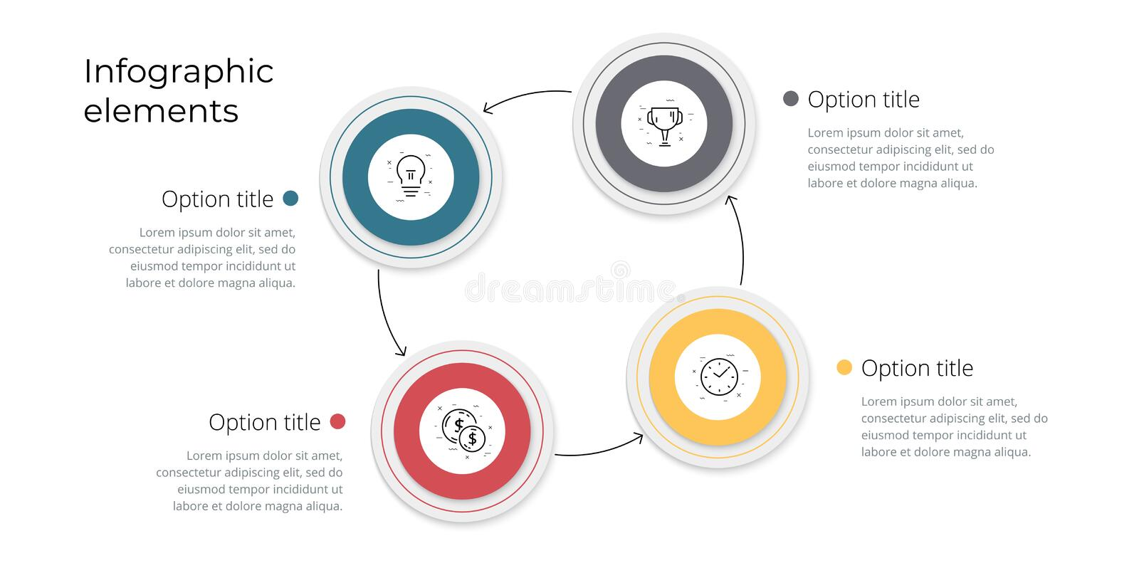 Business process chart infographics with 4 step options. Square corporate workflow graphic elements. Company flowchart. Presentation slide template. Vector info vector illustration