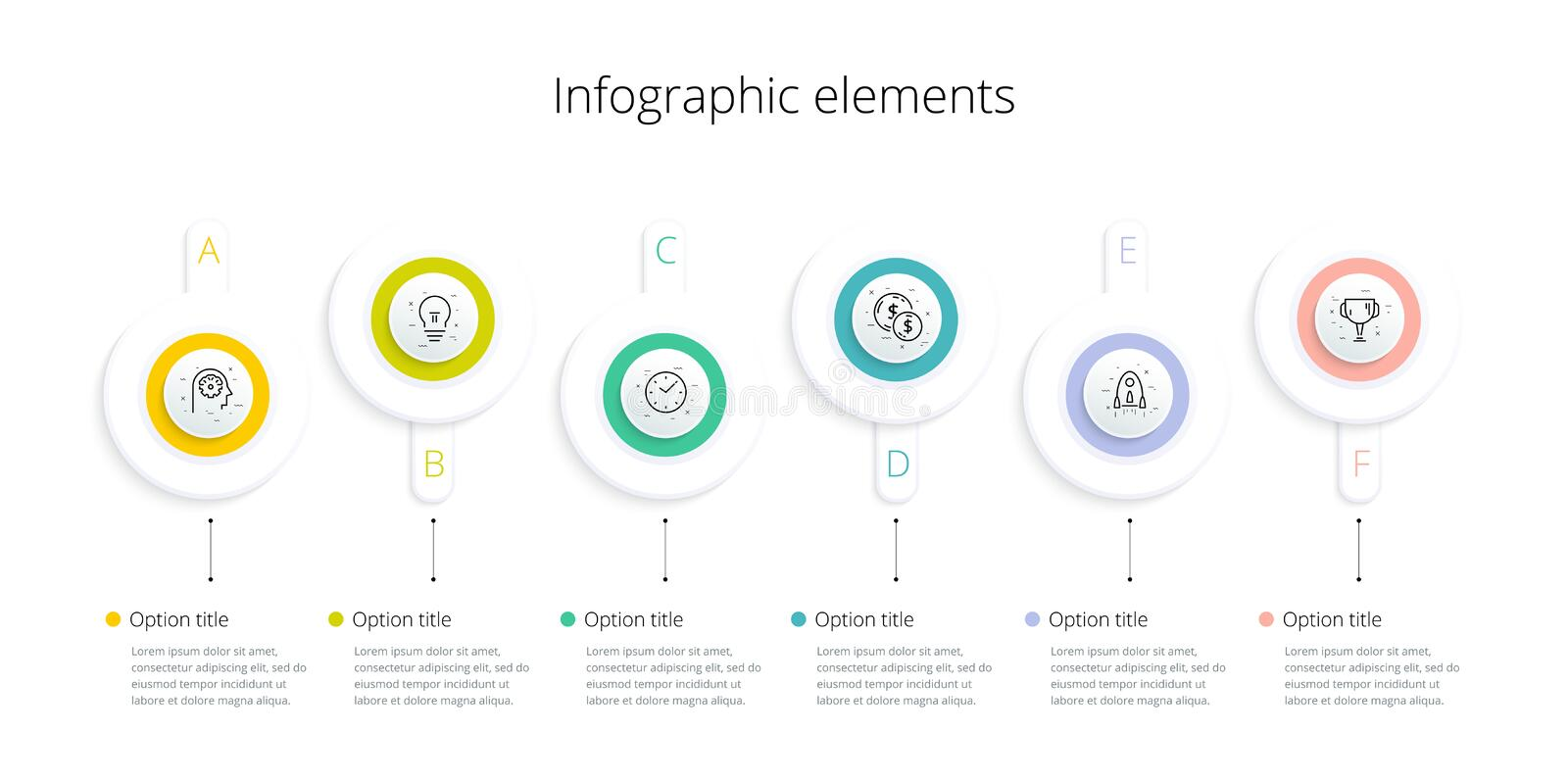 Business process chart infographics with 6 step options. Square corporate workflow graphic elements. Company flowchart. Presentation slide template. Vector info stock illustration