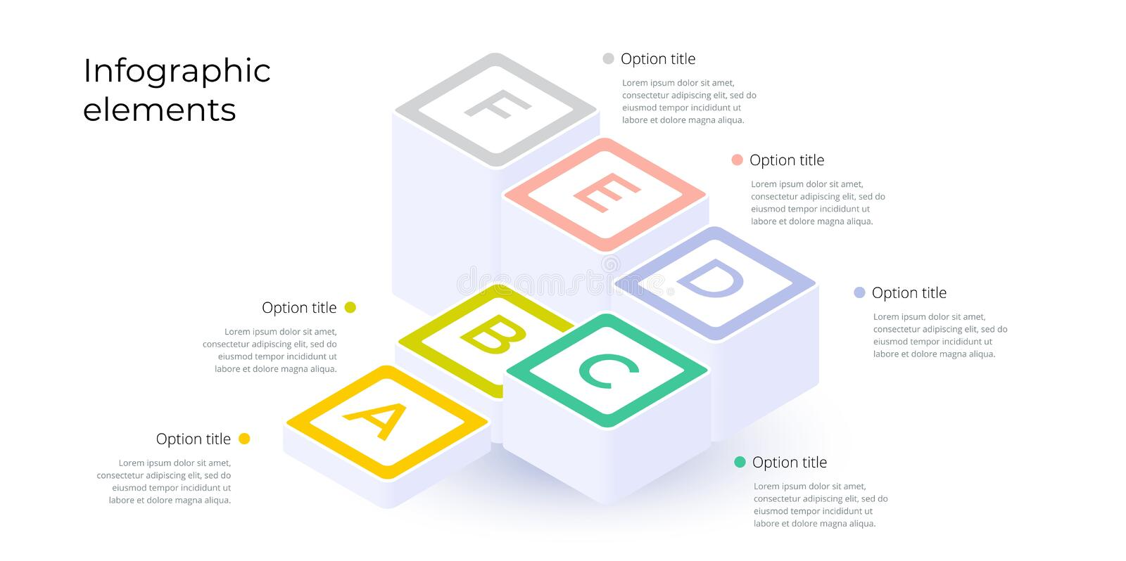 Business process chart infographics with 6 step options. Square corporate workflow graphic elements. Company flowchart. Presentation slide template. Vector info vector illustration