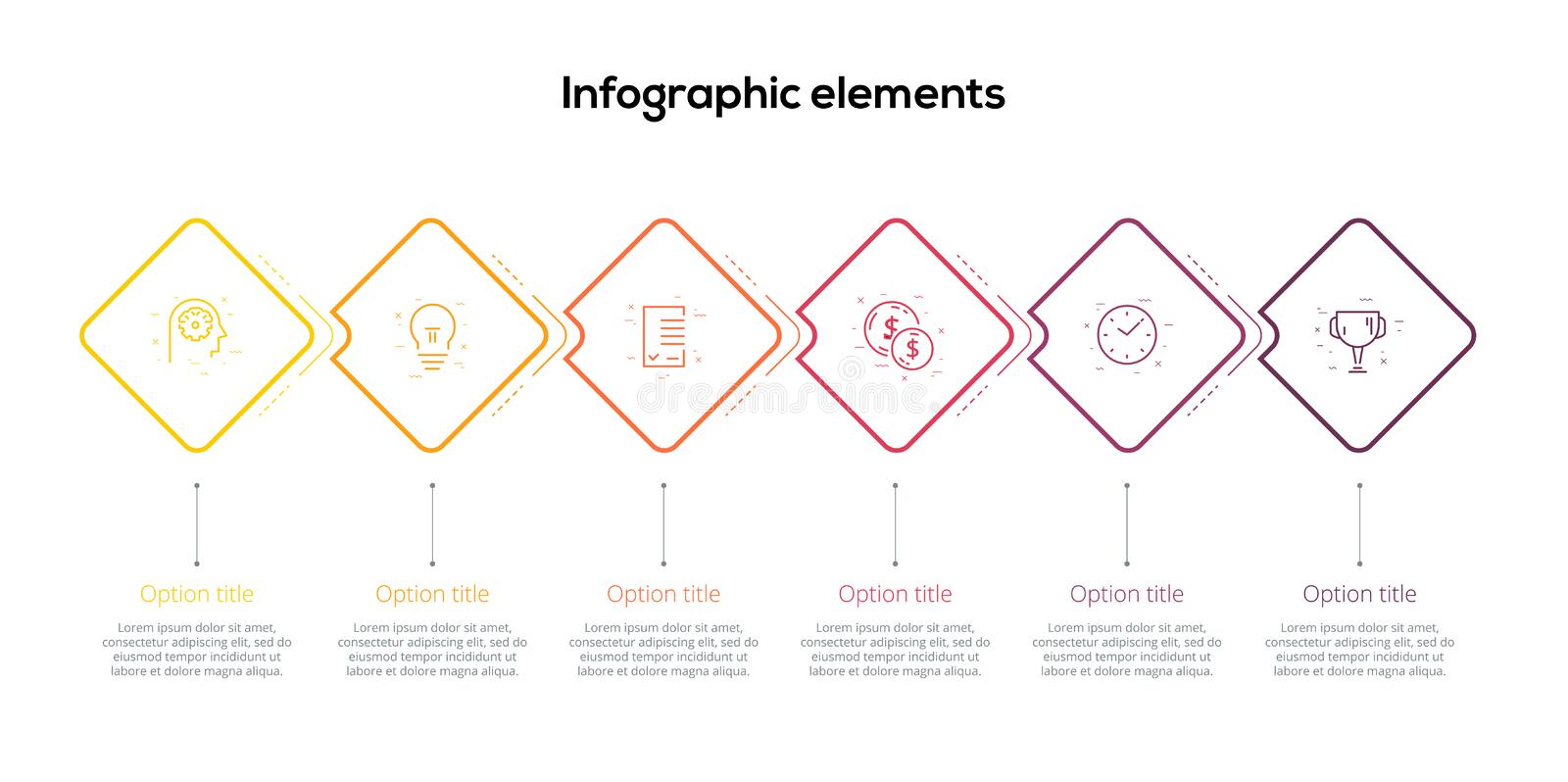 Business process chart infographics with 6 step rhombs. Square corporate workflow graphic elements. Company flowchart presentation. Slide template. Vector info royalty free illustration