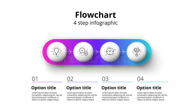 Business process chart infographics with 4 step segments. Circular corporate timeline infograph elements. Company presentation. Slide template. Modern vector royalty free illustration