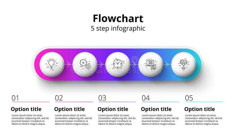 Business process chart infographics with 5 step segments. Circular corporate timeline infograph elements. Company presentation stock illustration