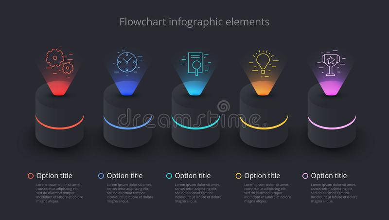 Business process chart infographics with 5 step segments. Circular corporate timeline infograph elements. Company presentation royalty free illustration