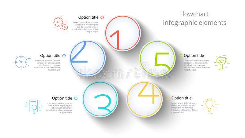Business process chart infographics with 5 step segments. Circular corporate timeline infograph elements. Company presentation. Slide template. Modern vector royalty free illustration