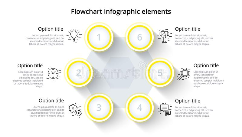 Business process chart infographics with 6 step segments. Circular corporate timeline infograph elements. Company presentation. Slide template. Modern vector stock illustration