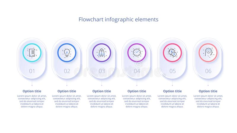 Business process chart infographics with 6 step segments. Circular corporate timeline infograph elements. Company presentation vector illustration