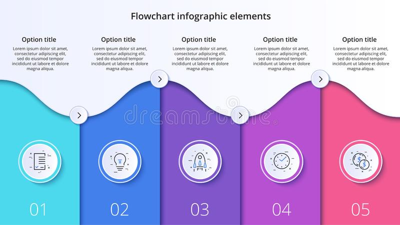 Business process chart infographics with 5 step segments. Circular corporate timeline infograph elements. Company presentation vector illustration