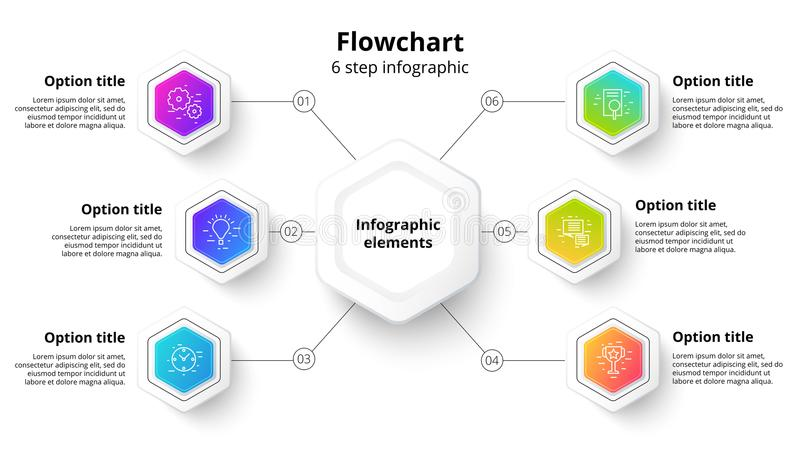 Business process chart infographics with 6 step segments. Circular corporate timeline infograph elements. Company presentation royalty free illustration