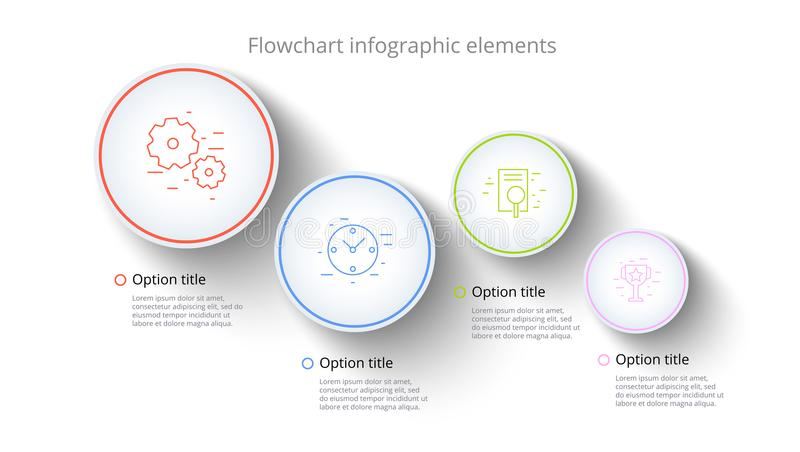 Business process chart infographics with 4 step segments. Circular corporate timeline infograph elements. Company presentation royalty free illustration