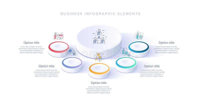 Business process chart infographics with 5 step segments. Isometric 3d corporate timeline infograph elements. Company royalty free illustration