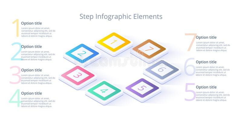Business process chart infographics with 7 step segments. Isometric 3d corporate timeline infograph elements. Company. Presentation slide template. Modern vector illustration