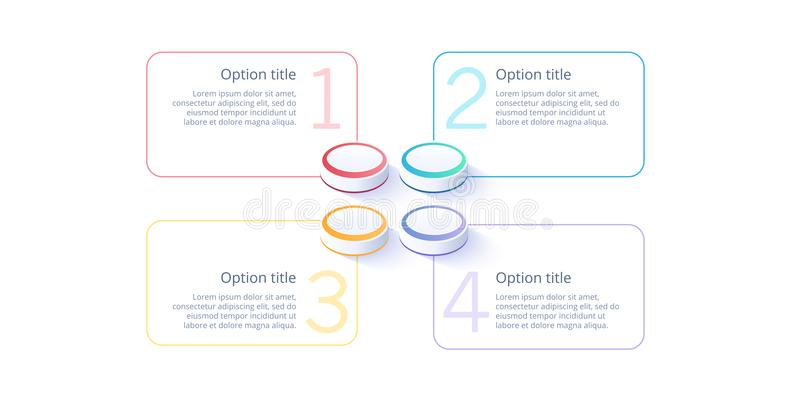 Business process chart infographics with 4 step segments. Isometric 3d corporate timeline infograph elements. Company. Presentation slide template. Modern vector illustration