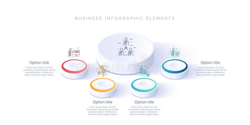 Business process chart infographics with 4 step segments. Isometric 3d corporate timeline infograph elements. Company. Presentation slide template. Modern stock illustration