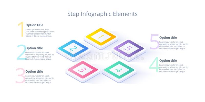 Business process chart infographics with 5 step segments. Isometric 3d corporate timeline infograph elements. Company. Presentation slide template. Modern vector illustration