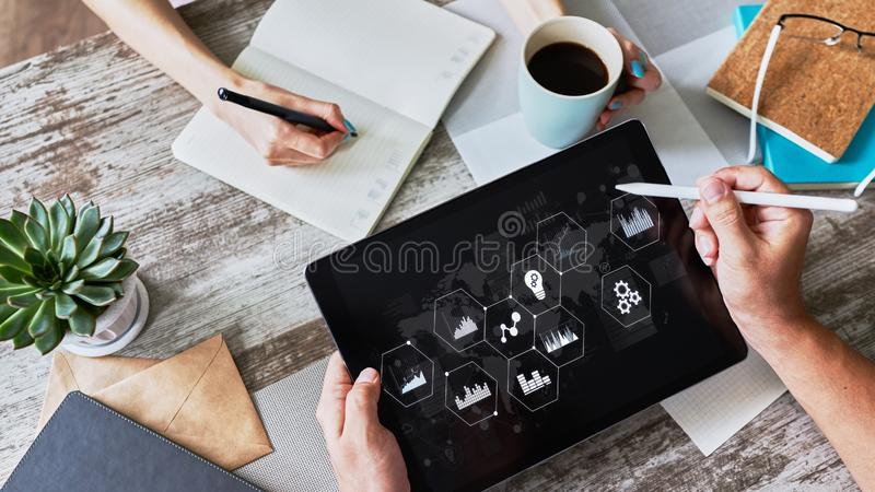 Business process control panel and data analysing monitor with chart and diagrams on device screen. Innovation concept. Business process control panel and data stock image