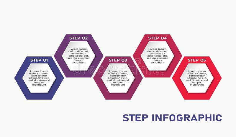 Business process infographic template with text in hexagons. five steps flowchart. Workflow infographic template with text in hexagons. color five steps business royalty free illustration