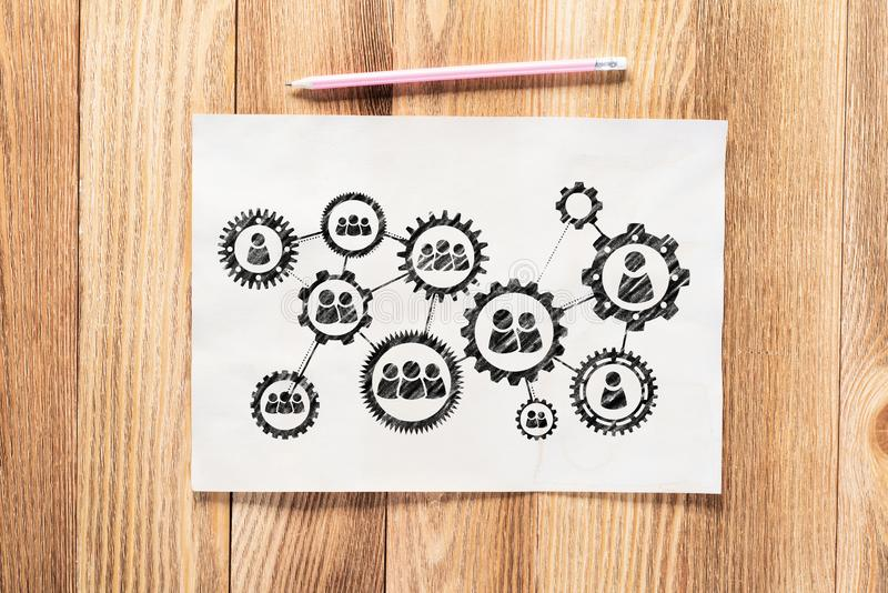 Business process management pencil hand drawn stock images