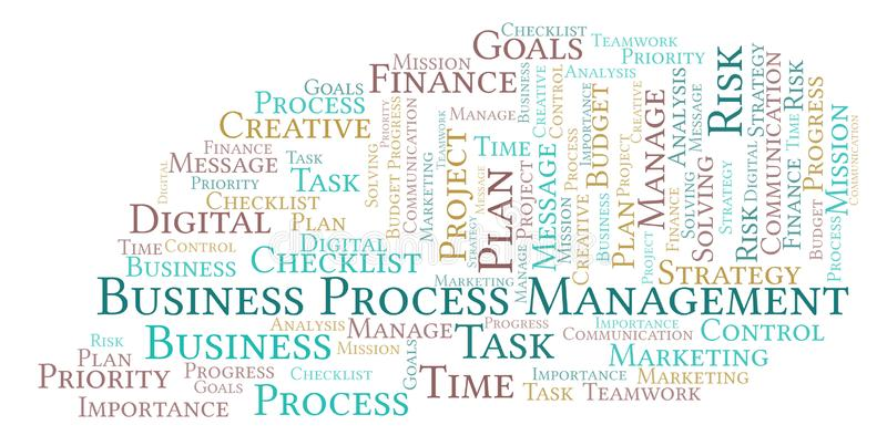 Business Process Management word cloud, made with text only. Business Process Management word cloud, made with text only stock illustration