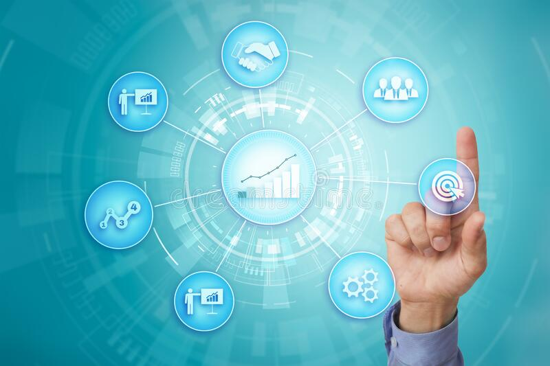 Business process and strategy concept on virtual screen background. Innovation and solutions for financial growth. stock photos