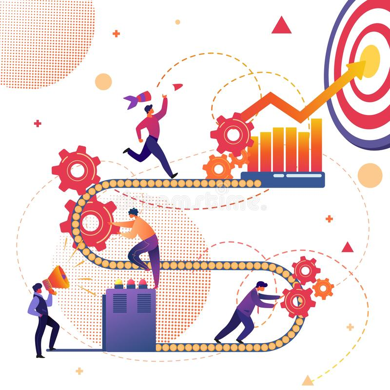 Business Process of Success Achievement Metaphor. Tiny People Working Together on Conveyor Belt with Cogwheels. Investment, Information Analysing, Target. Grow royalty free illustration