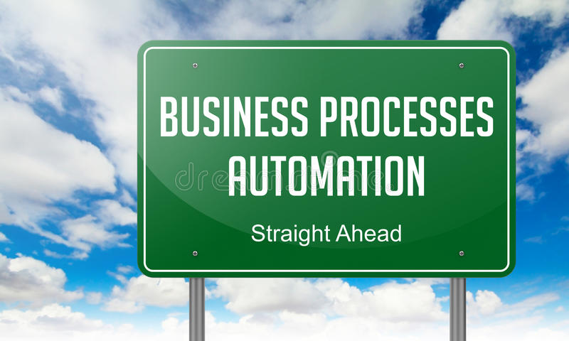 Business Processes Automation on Highway Signpost. Highway Signpost with Business Processes Automation wording on Sky Background vector illustration
