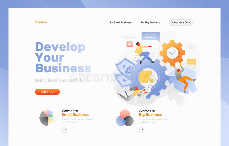 Business Processing Web Page. Vector web page template of business development. Big cogwheels with money symbols surrounded by tiny developers royalty free illustration