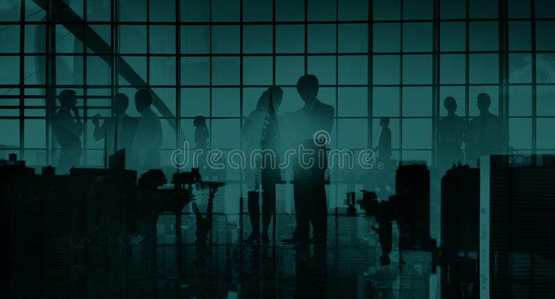 Business Professional Communication Office Cityscape Concept stock images