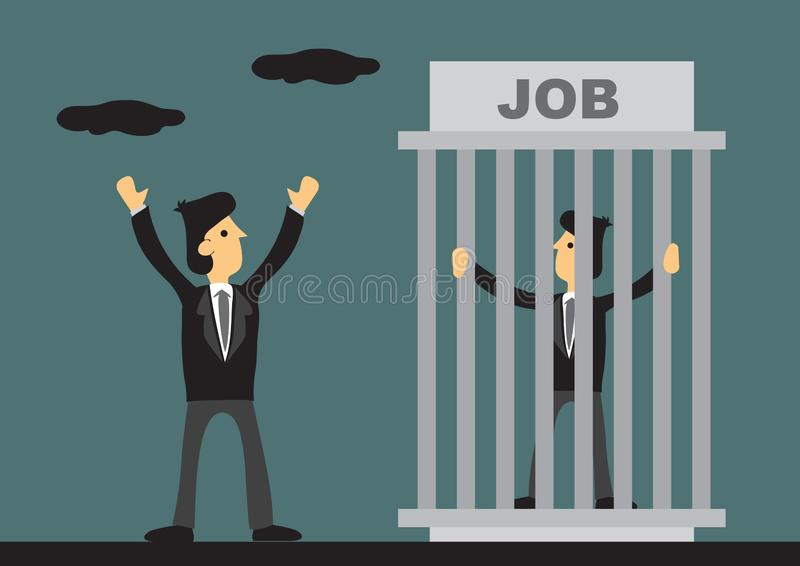 Business Professional Trapped in Job Cartoon Vector Illustration. One worker trapped inside cage titled JOB and one businessman outside feeling free and stock illustration