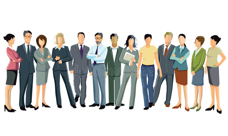 Business professionals. Group of business professionals standing dressed in suits on white background stock illustration
