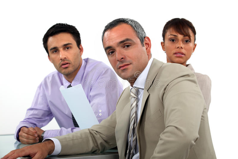 Business professionals having a meeting. A team of business professionals having a meeting royalty free stock photography