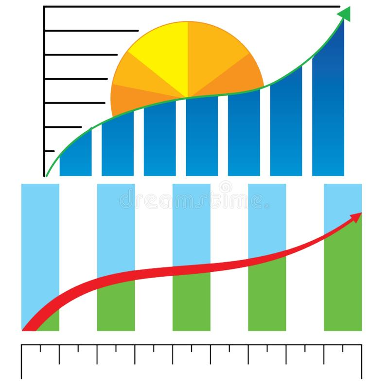 Business profit chart. For describe business growth stock illustration