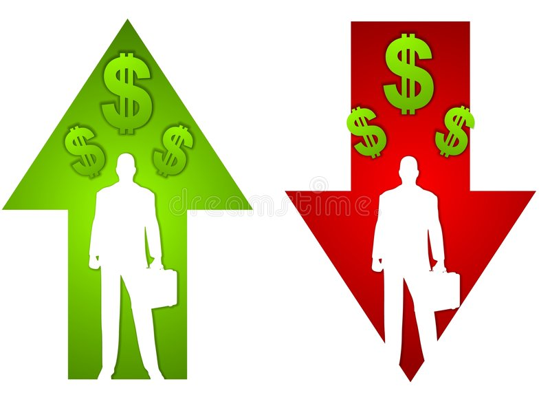 Business Profit Loss Arrows. An illustration featuring your choice of businessmen standing as silhouettes within profit and loss arrows and dollar signs. Sorry royalty free illustration