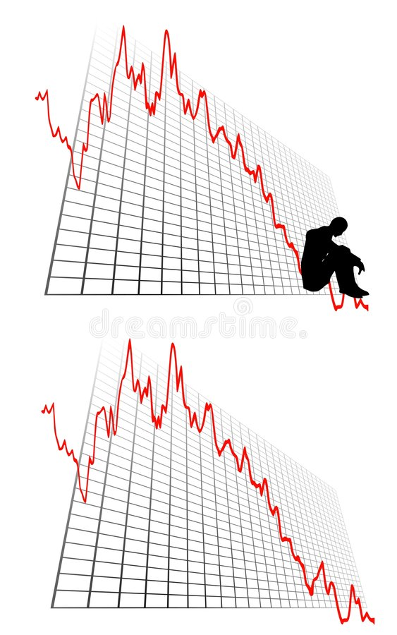 Business Profit Loss Graphs. An illustration featuring a graph or stock chart going into the red with depressed man at the bottom of the line to represent stock