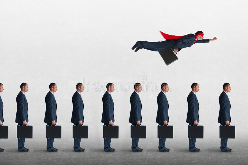 Business progress concept with superhero businessman flying royalty free stock images