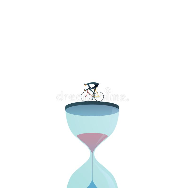 Business project deadline vector concept with businessman racing against clock, hourglass. Symbol of stress, being under stock illustration