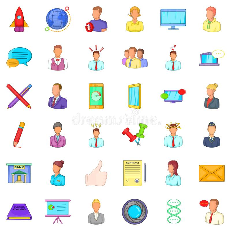 Business project icons set, cartoon style royalty free illustration