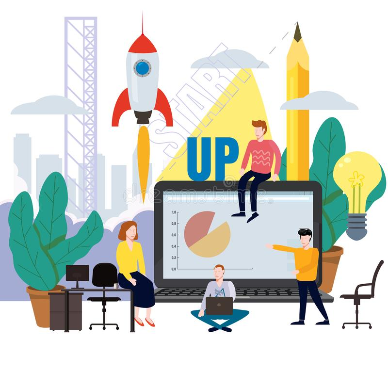 Business project launch, process ideas from concept to implementation, project consolidation, planning, team of stock illustration
