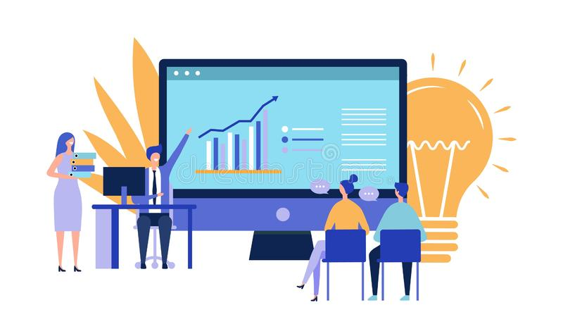 Business project presentation. Attraction of investments concept. Flat vector businesspeople characters, new idea vector. Business project presentation royalty free illustration